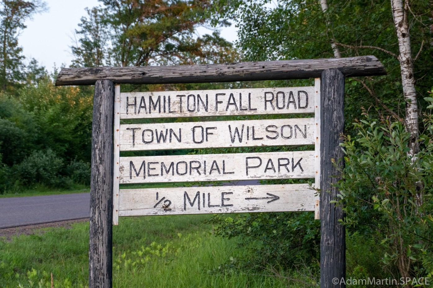 Hamilton Falls Road - Memorial Park sign