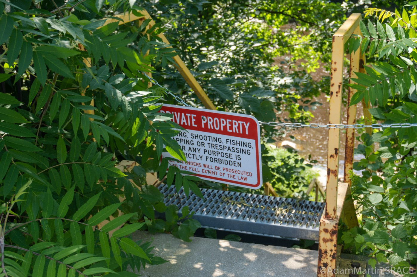 Little Bull Falls - Private Property posted on access ladder