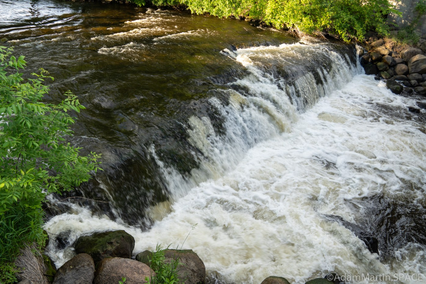 Waupaca Falls - View from left side of bridge