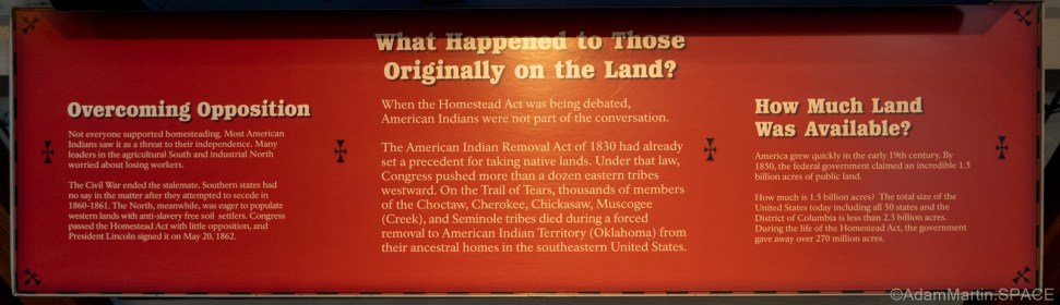 """Homestead National Historical Park – """"What Happened To Those Originally On The Land?"""" display"""
