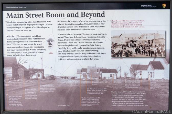 "Nicodemus National Historic Site - ""Main Street Boom And Beyond"" Sign"