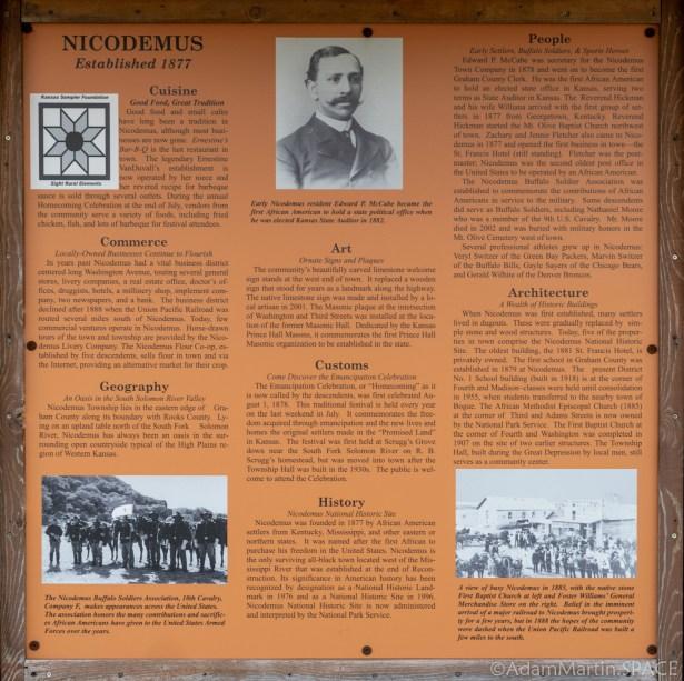 Nicodemus National Historic Site - Historical Sign
