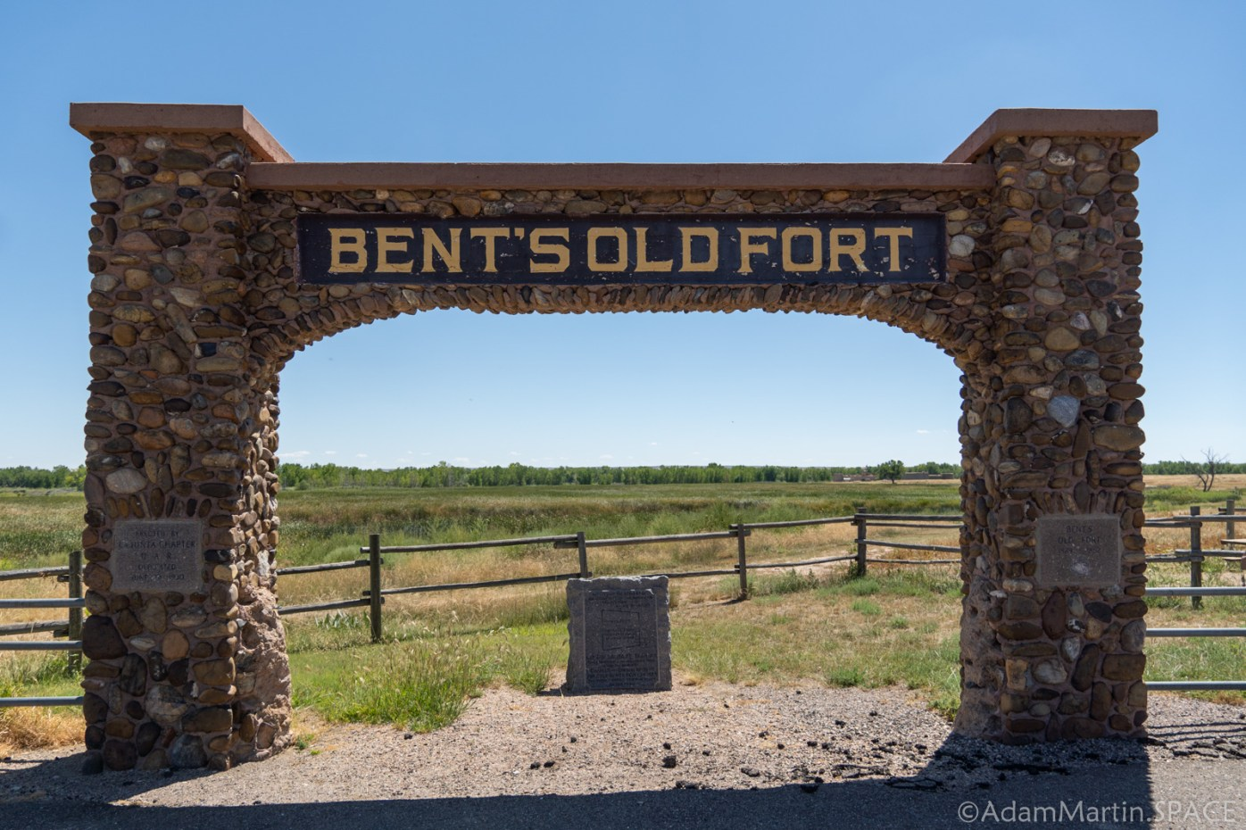 Bent's Old Fort National Historic Site - Stone Arch Entrance Sign