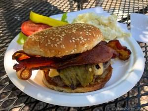Mogollon, NM - Purple Onion's bacon cheeseburger with Hatch green chiles