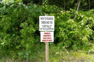 Lost Falls trail sign - PRIVATE PROPERTY, DO NOT TRESPASS!