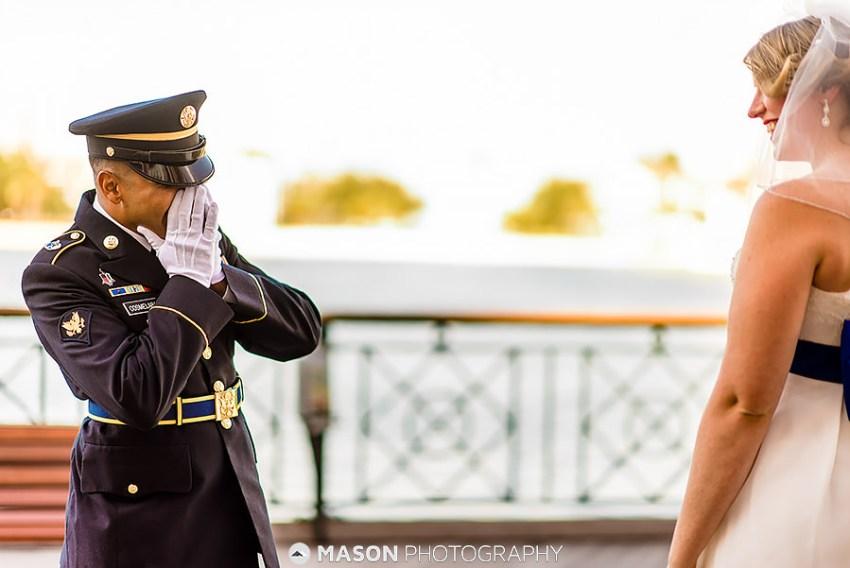 groom in military uniform first look by Washington DC Wedding Photographer Adam Mason