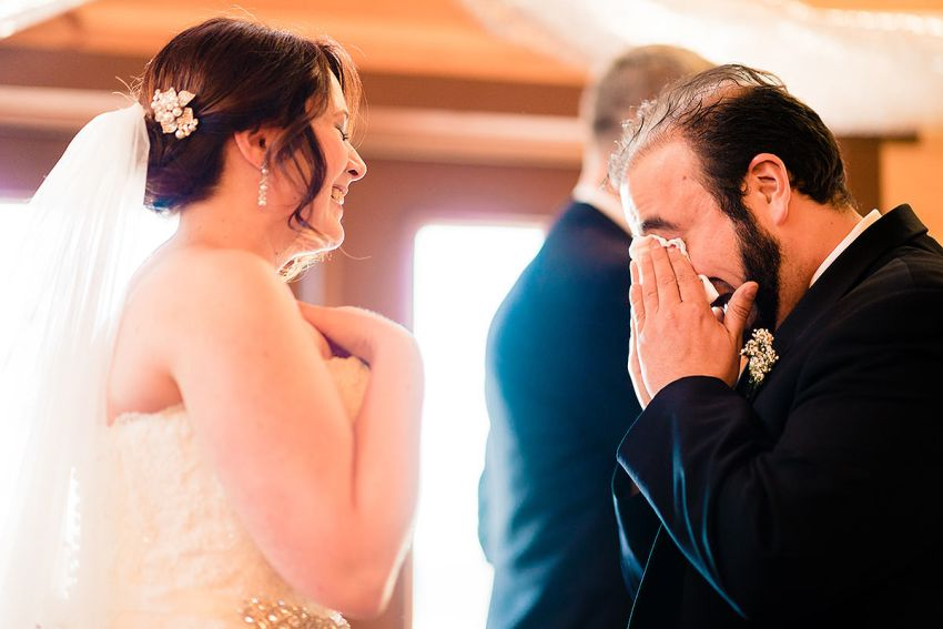 groom crying during vows at Barn at Klines Mill Wedding by Washington DC Wedding Photographer Adam Mason