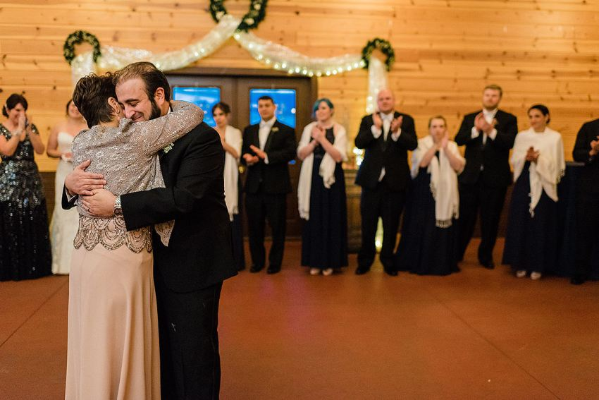 mother son dance at Barn at Klines Mill wedding by Washington DC Wedding Photographer Adam Mason