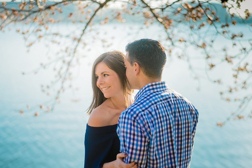 military engagement session during cherry blossoms at Washington DC Wedding Photographer Adam Mason