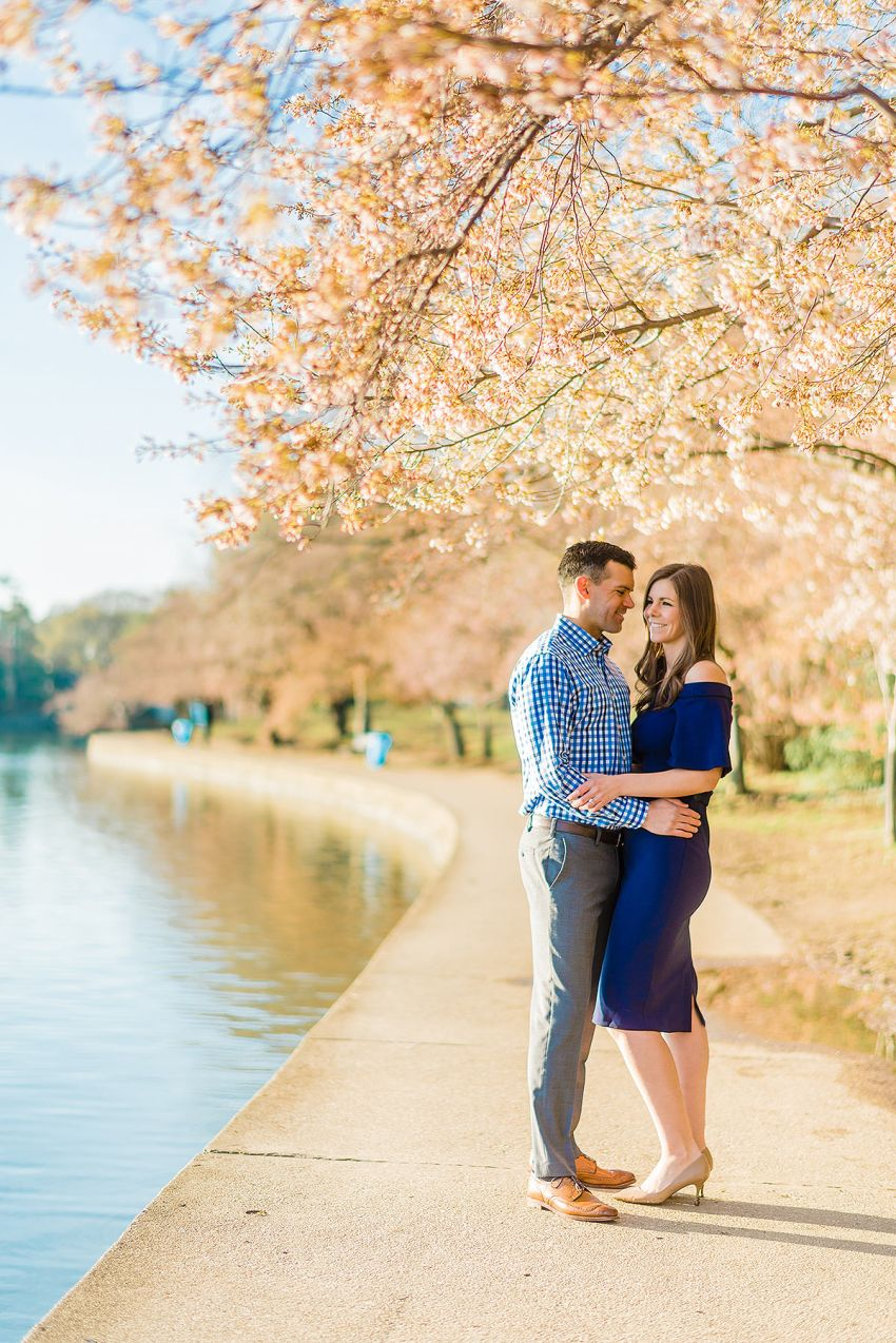 peak bloom cherry blossoms engagement session by Washington DC Wedding Photographer Adam Mason
