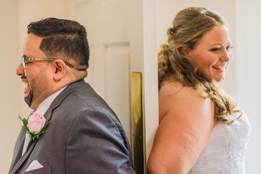 first look prayer at Hood College Wedding by Washington DC Wedding Photographer Adam Mason