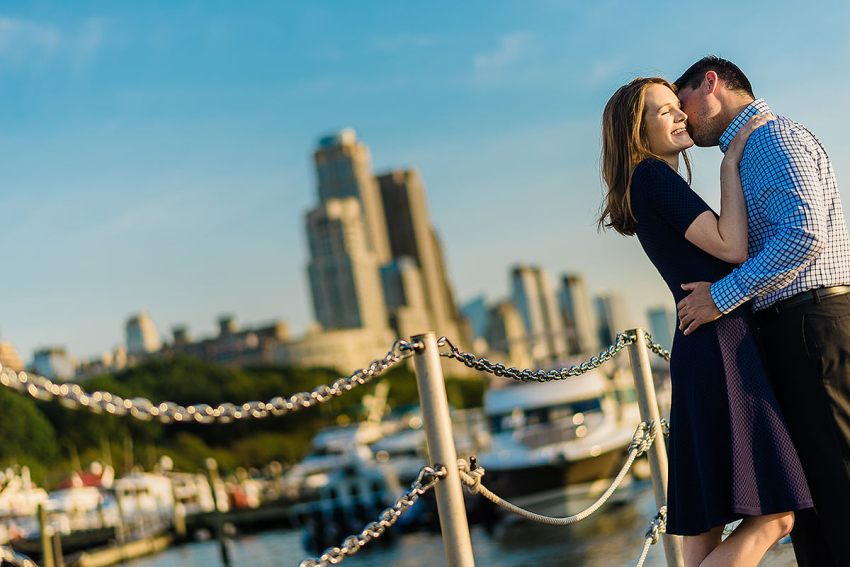 Hudson River engagement photos in New York City by Washington DC Wedding Photographer Adam Mason