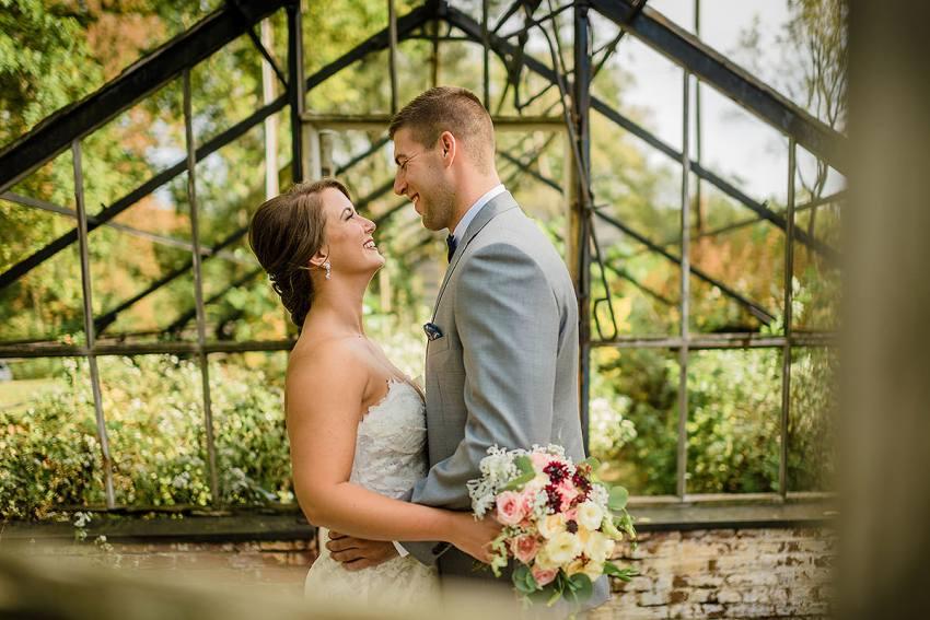abandoned greenhouse wedding portraits at Philander Knox Estate Wedding by Washington DC Wedding Photographer Adam Mason