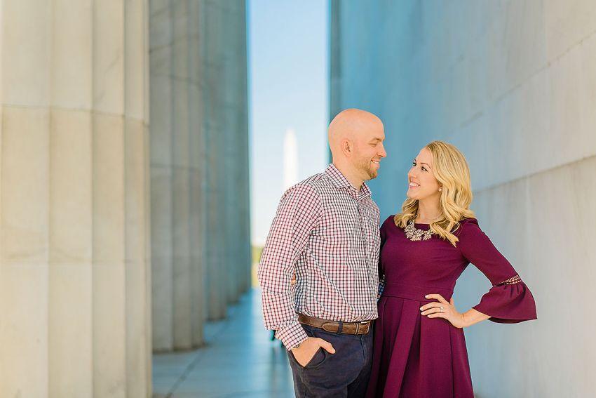 lincoln memorial photos during engagement session by Washington DC Wedding Photographer Adam Mason