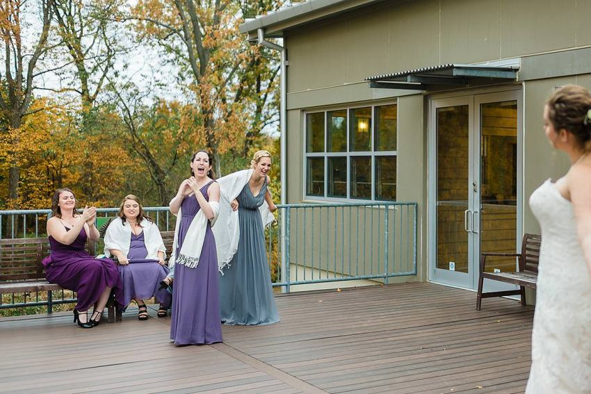 bridesmaids reveal at irvine nature center wedding by Washington DC Wedding Photographer Adam Mason