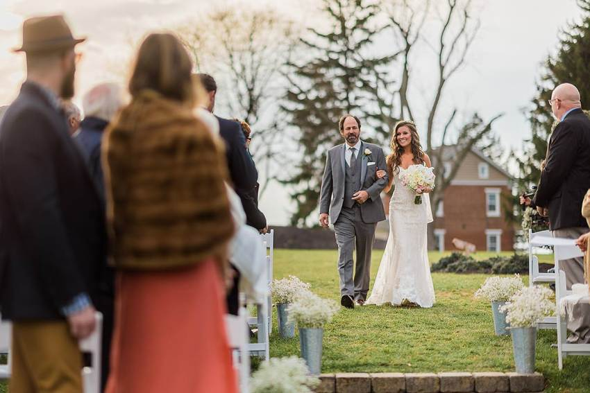 father and bride walking down aisle at wyndridge farm wedding by Washington DC Wedding Photographer Adam Mason