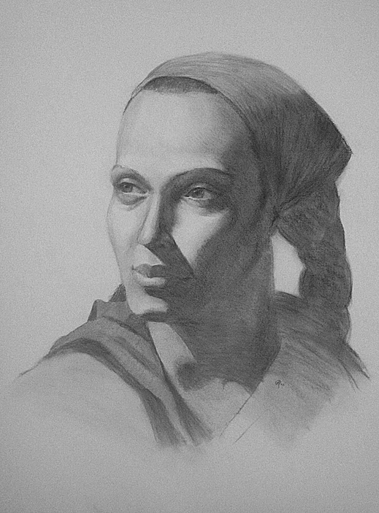 Female charcoal portrait drawing by Adam Miconi