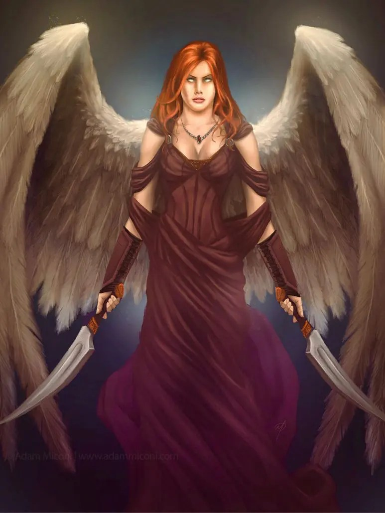Aellae - Warrior angel digital painting art by Adam Miconi