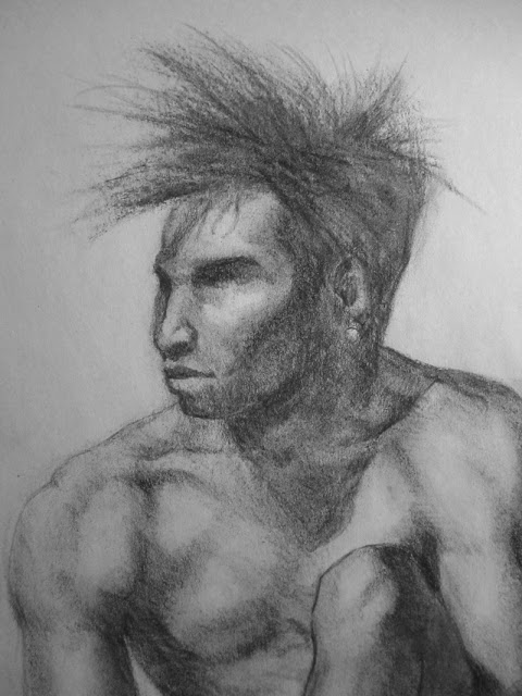 Figure drawing in charcoal with face attention by Adam Miconi