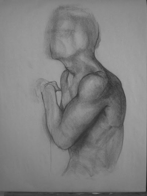 Shoulder Study In Charcoal