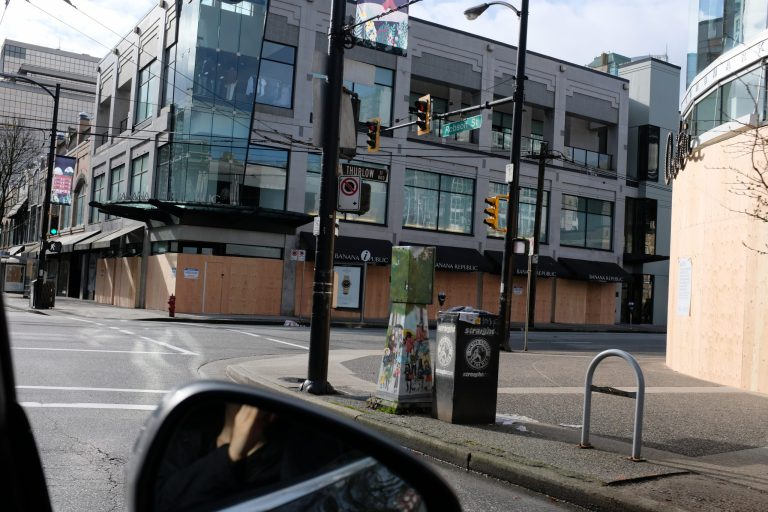 COVID-19 Vancouver Shops Boarded Up