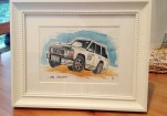 Finished watercolour of the jeep