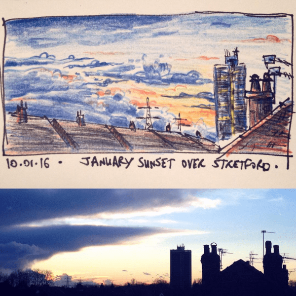 Stretford sunset sketch