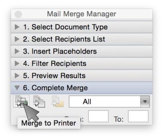 Word Mail Merge - Merge to Printer