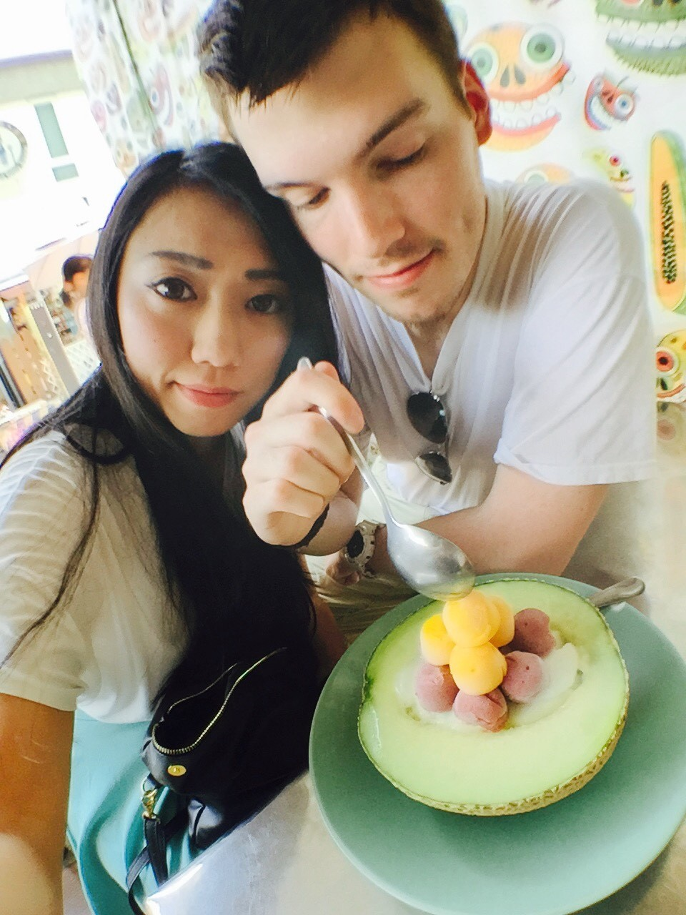 Adam & Mora in Tainan, Taiwan eating Taiwanese fruity ice cream