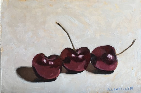 "untitled sketch (cherries I) : Oil on board. 6""x9"" 2016"