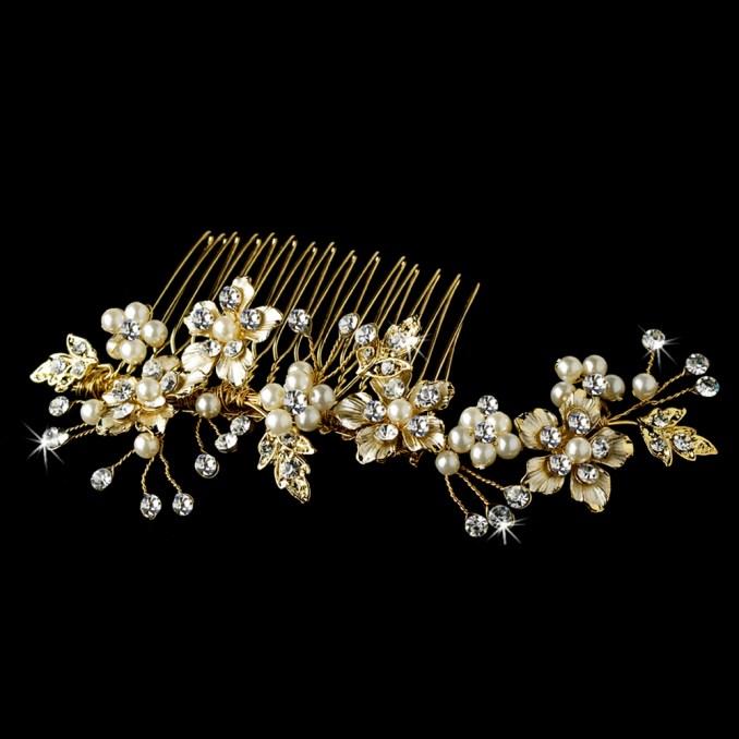elegant bridal pearl hair comb accent comb 039 gold