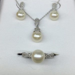 Sterling Diamond and Pearl Set