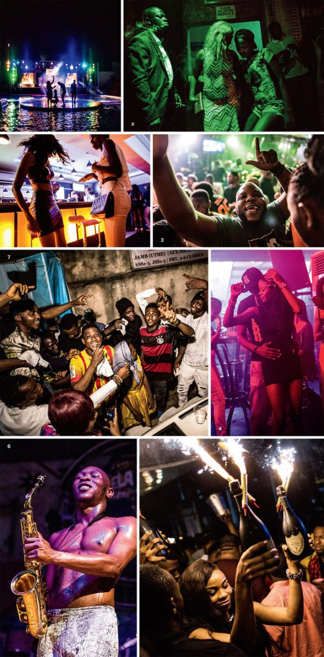 1. Clubgoers dance at a pool party hosted by Quilox nightclub. 2. Locals mingle at a bar in Obanlende, a rough neighborhood in Lagos. 3. Abiodun Osikoya, a.k.a. Bizzle, is one of Nigeria's top music promoters. 4. A couple dances at Quilox. 5. Bottle service is a common part of club culture; here, women deliver bottles of Dom Pérignon, complete with sparklers, to waiting customers. 6. Seun Kuti, Fela's youngest son, performs on a Saturday night. 7. A a Friday night in Lagos Island Street party musicians practice their songs and dancers practice their moves. 8. Models dance near the bat at Club 57, a high-end nightspot in Lagos.
