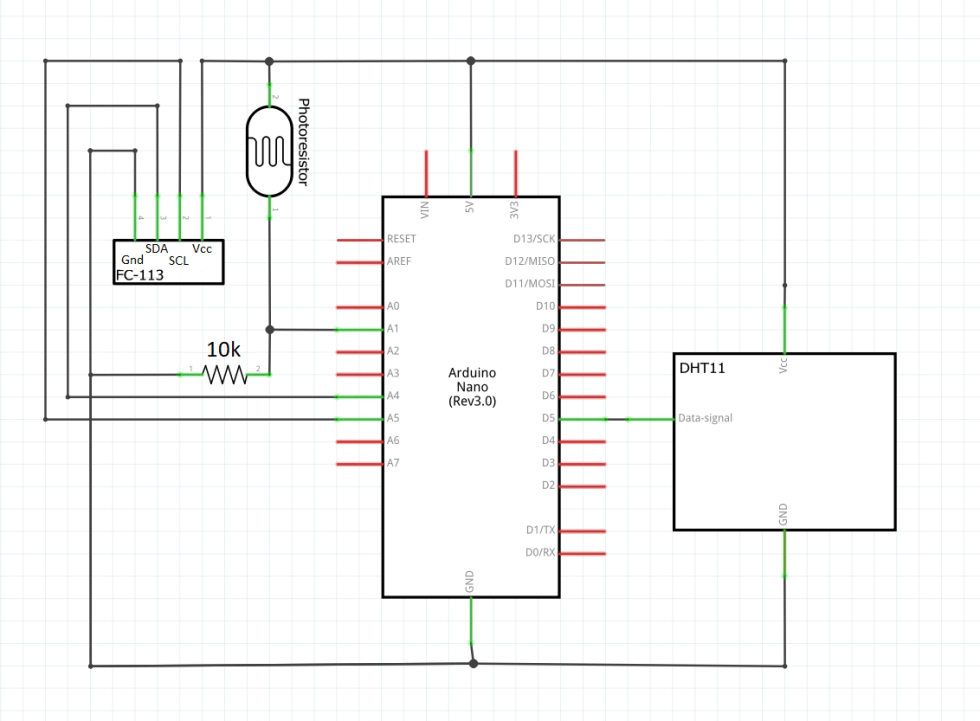 Schematic for Temp/Humidity/Light Sensor