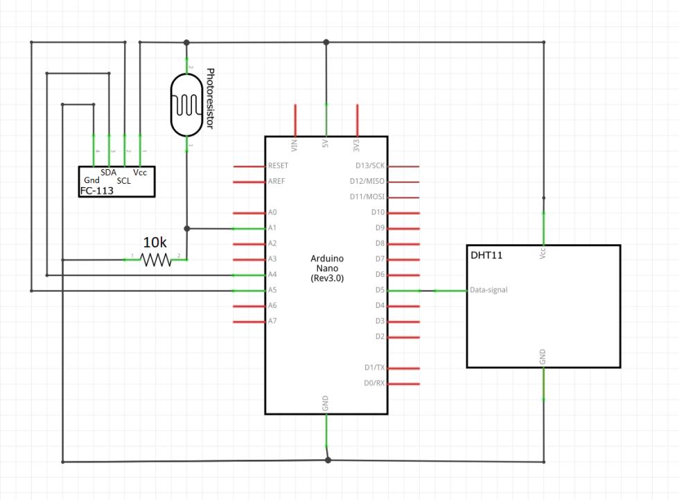 Schematic for Temp/Humidity/Light Sensor