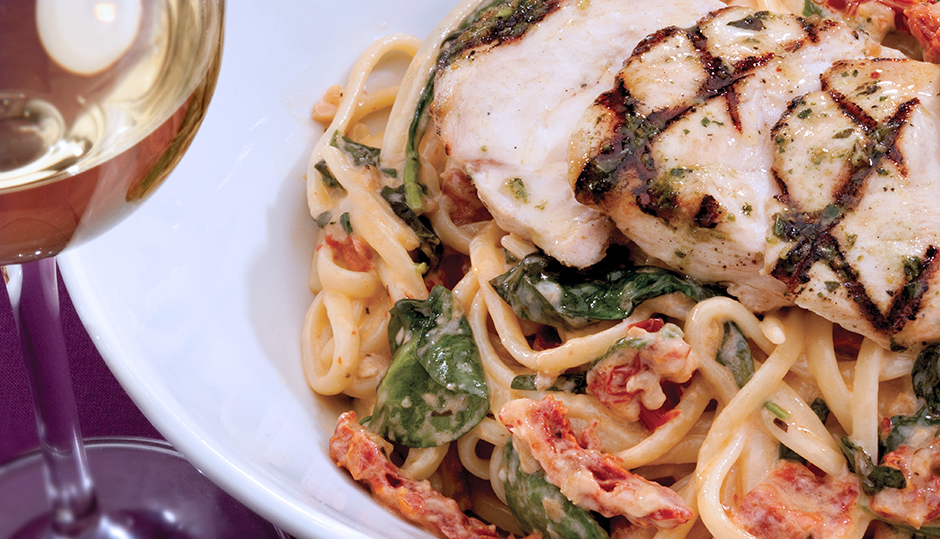 Grilled Chicken and Cheddar Linguine with Sun-Dried Tomato Cream Sauce