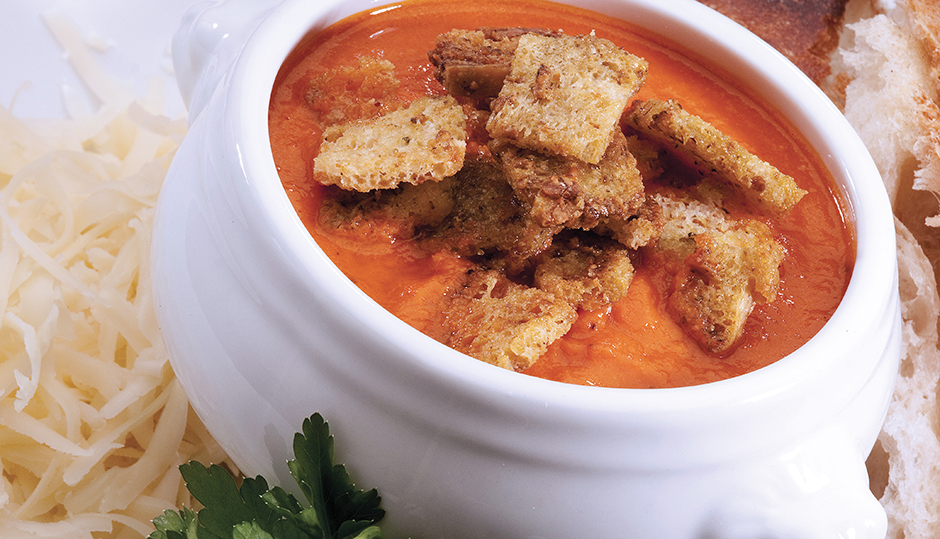 Creamy Tomato Bisque with Cheddar