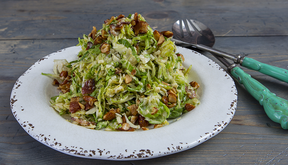 Shaved Brussels Sprout, Bacon & Cheddar Salad