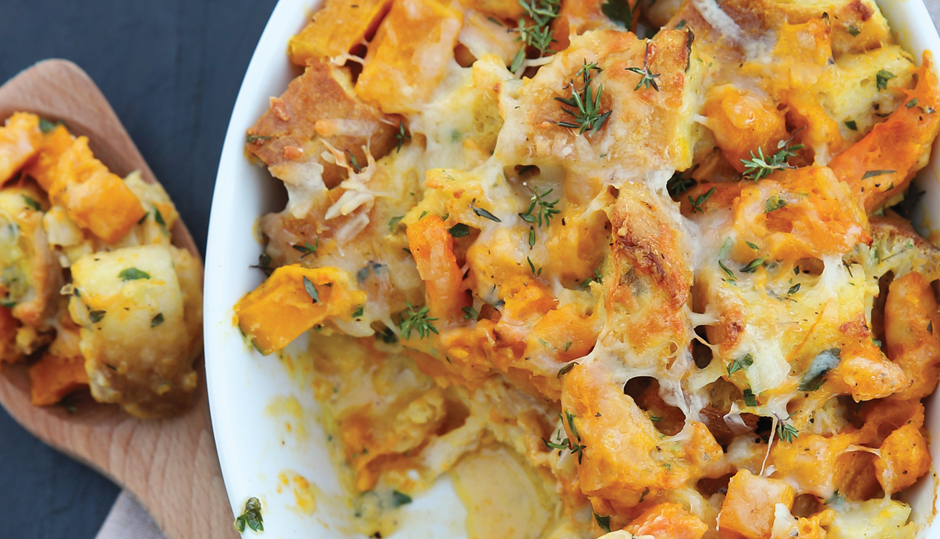 Butternut Squash and Cheddar Bread Pudding