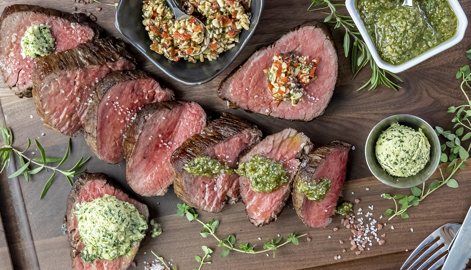 Roasted Beef Tenderloin with Three Cheddar Butters