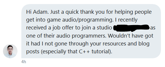 A thank you message