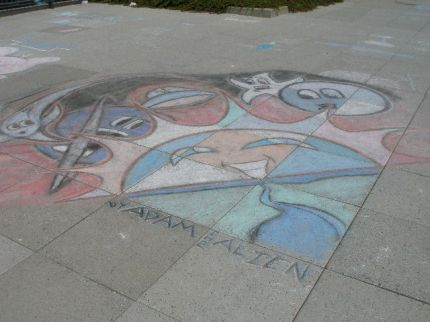 Adam's Chalk the Walk piece after a day or so of fading. Photo from Chalkiti.com.