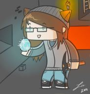 A drawing of Triston's Minecraft alter-ego
