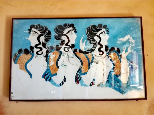grecko kreta knossos galeria damy v modrom