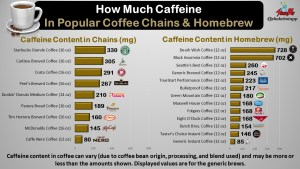 Caffeine Content in Popular Coffee Chains and Homebrew Brands