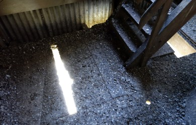 The nice clean spots not absolutely covered in pigeon droppings are holes in the flooring, with a two-storey drop to the road outside...