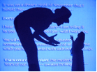 "In ""Creation,"" the silhouettes of MARY and DR FRANKENSTEIN appear on the rear-projection screen and perform a kind of shadow play. In audio voiceover we hear MARY speaking both as herself and as the author Mary Shelley, and we hear the voice of the CREATURE. Text from the opening pages of Frankenstein appears on screen letter by letter, mingled with some of the spoken text."