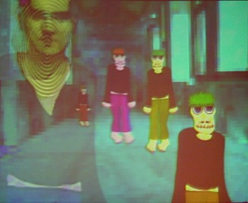 A screen shot of a computer game called MonsterQuest. In this scene, MARY is at home, listening to the TV. A newscaster recounts a variant of an episode from Frankenstein in which the CREATURE saves a child's life, with details suggesting that the CREATURE may live at least partly inside this computer game.