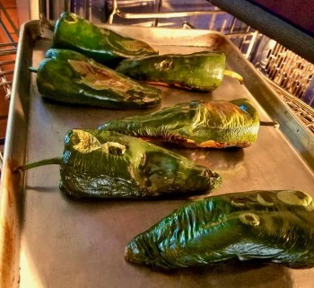 Poblano Chiles Roasting In Oven