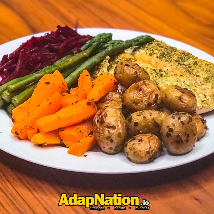 AdapNation - Salmon, new potatoes, and super veg